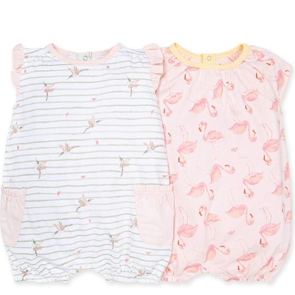 Burt's Bees Baby Girl Striped Pink Romper Size 3-6 Months New Nwt
